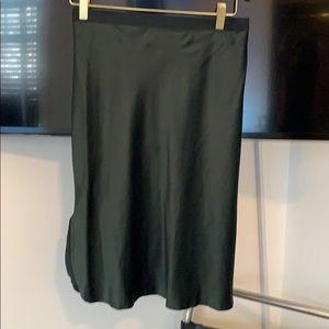 Nili Lotan bottle green knee length satin skirt